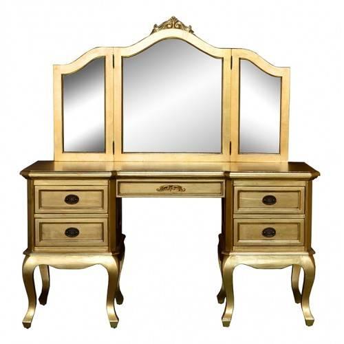 Dressing Table & Triple Mirror – Gold Leaf Inside Gold Dressing Table Mirrors (#13 of 30)