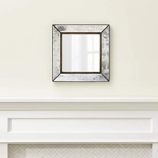 Dubois Small Square Wall Mirror | Crate And Barrel Regarding Small Antique Wall Mirrors (#20 of 30)