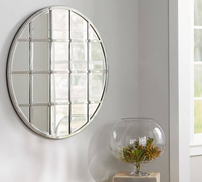 Eagan Multipanel Round Mirror – Silver | Pottery Barn Inside Round Silver Mirrors (#10 of 30)
