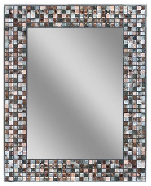 "Earthtoned Copper Bronze Mosaic Mirror, 24""x30"" – Transitional Pertaining To Bronze Wall Mirrors (#10 of 20)"