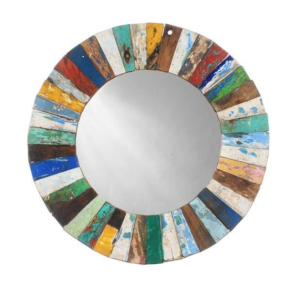 Ecologica Round Wood Mosaic Mirror – Free Shipping Today Inside Round Mosaic Mirrors (#15 of 30)