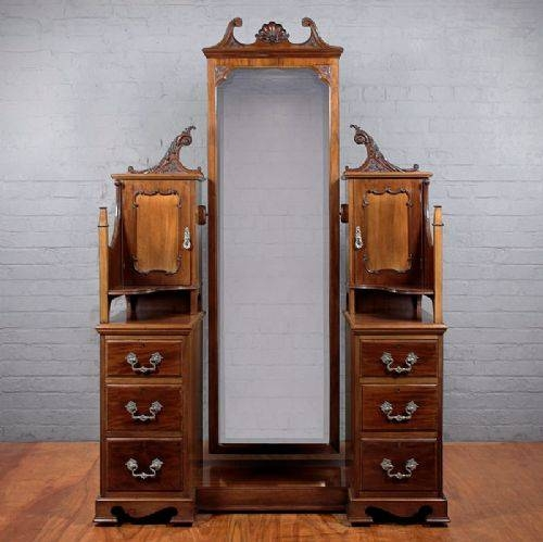 Inspiration about Edwardian Mahogany Cheval Mirror & Drawers. | 260349 In Full Length Antique Dressing Mirrors (#19 of 30)