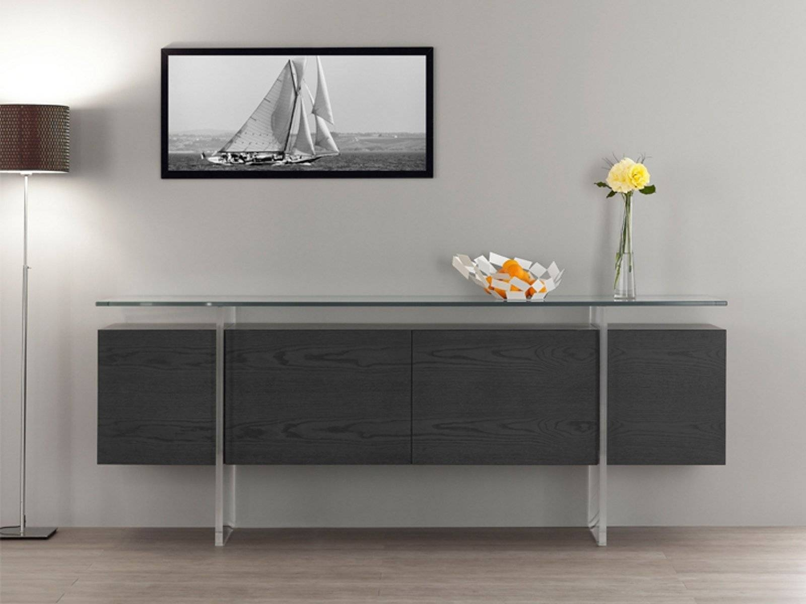 Elegant Contemporary Grey Oak Sideboard Design With Four Cabinet With Regard To Glass Top Sideboard (#1 of 20)