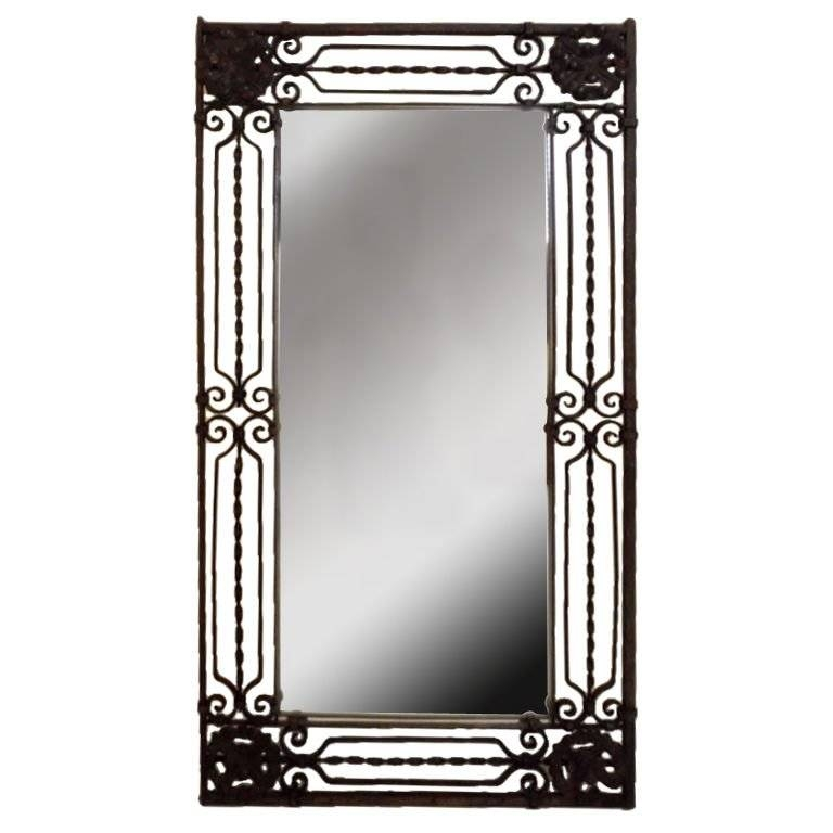 Elegant Hand Twisted Wrought Iron Mirror At 1Stdibs Pertaining To Rod Iron Mirrors (#8 of 15)