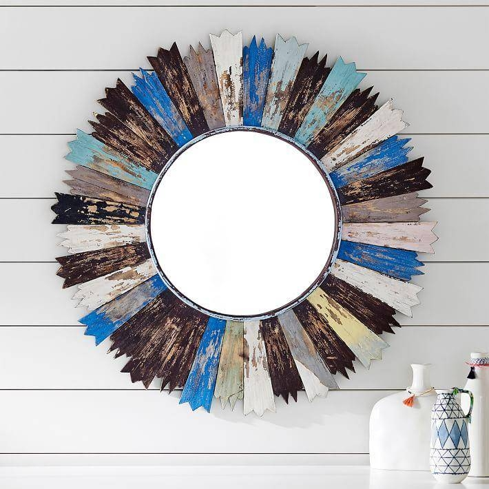 Elemental Distressed Wood Sunburst Mirror Pertaining To Blue Distressed Mirrors (#26 of 30)