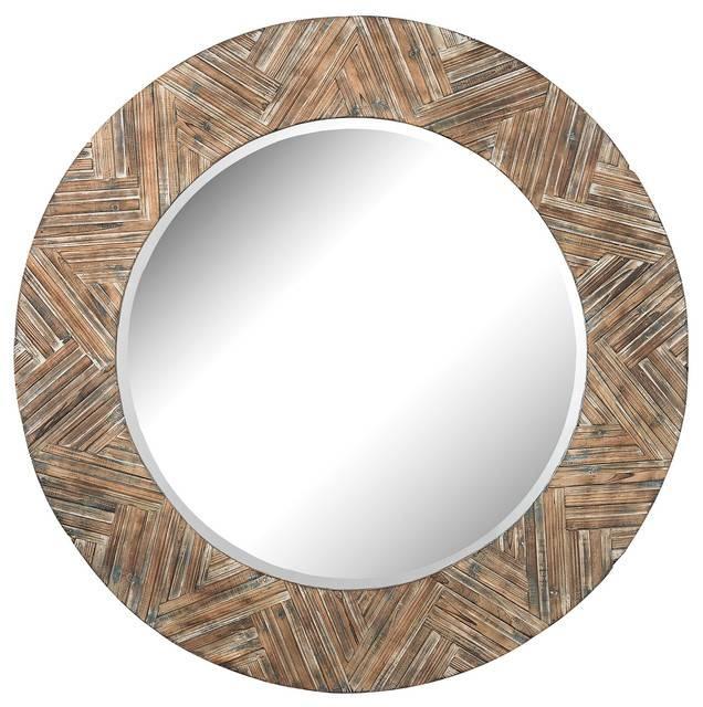 Elk Group Large Round Wood Mirror – Rustic – Wall Mirrors – Inside Large Round Wooden Mirrors (#9 of 20)