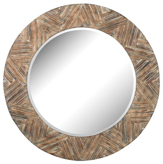 Elk Group Large Round Wood Mirror – Rustic – Wall Mirrors – With Regard To Wooden Mirrors (#9 of 30)