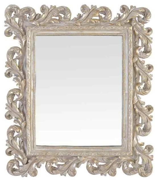 Emde Silver Baroque Mirror – Mediterranean – Wall Mirrors  Emde Within Silver Baroque Mirrors (#9 of 30)