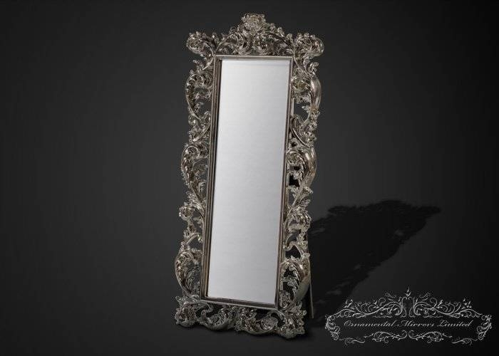 Emperor Silver Leaf Free Standing Full Length Mirror With Free Standing Silver Mirrors (#21 of 30)