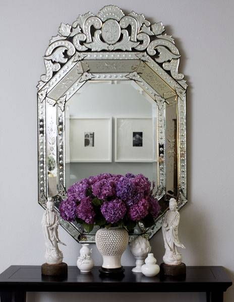 Entrances/foyers – White Front Door In Venetian Floor Mirrors (#14 of 30)