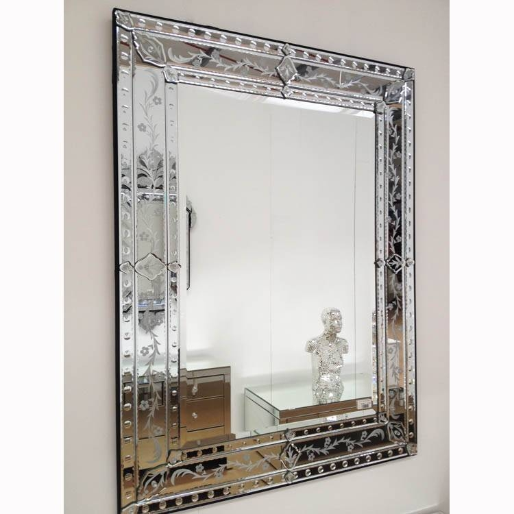Etched Frame Venetian Mirror 123 X 93Cm Etched Frame Venetian Regarding Rectangular Venetian Mirrors (#4 of 30)