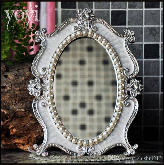European Retro The Royal Silver / Sapphire Metal Table Mirror High Inside Silver Free Standing Mirrors (View 19 of 20)