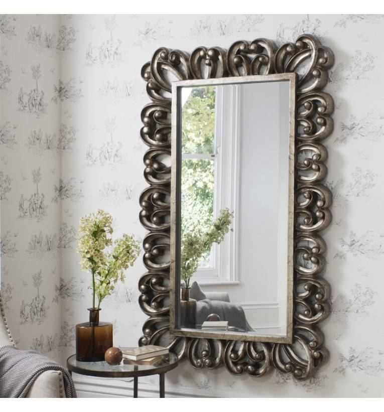 Evita Large Rectangle Wall Mirror 157 X 98 Cm Evita Large In Shabby Chic Large Wall Mirrors (#14 of 20)