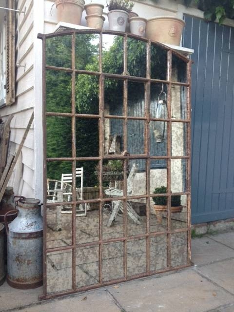 Ex Factory Antique Slow Arch Garden Window Framed Mirror Antique Inside Garden Window Mirrors (#12 of 20)