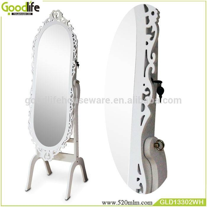 Exotic High Standing Oval Carved Frame Mirror Jewelry Armoire Throughout Free Standing Oval Mirrors (#9 of 20)
