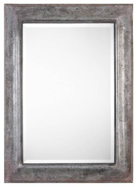 "Extra Large 45"" Oxidized Silver Bronze Wall Mirror, Rustic Metal Inside Large Metal Mirrors (#14 of 30)"
