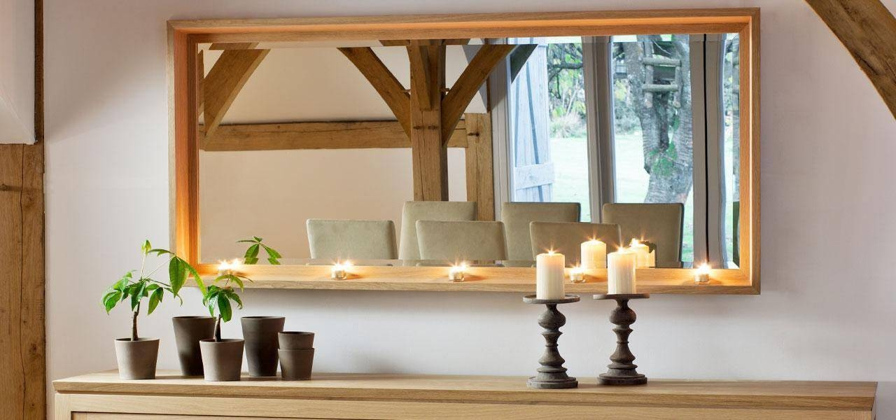 Extra Large Mirror | Solid Oak Large Mirror With Candle Holders With Regard To Large Oak Mirrors (View 13 of 20)