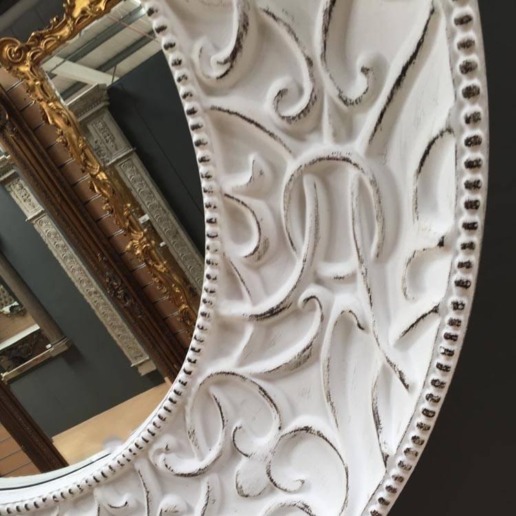 Extra Large Round White Shabby Chic Mirror 121Cm Round White Regarding Round White Mirrors (#6 of 30)