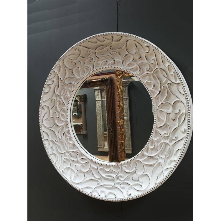 Extra Large Round White Shabby Chic Mirror 121Cm Round White With Shabby Chic Round Mirrors (#15 of 20)