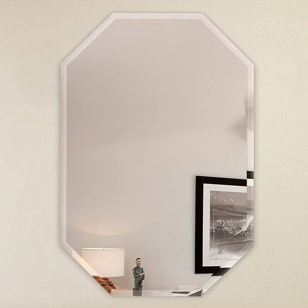 Fab Glass And Mirror Octagon Frameless Wall Mirror With 3 Hooks In Frameless Wall Mirrors (#11 of 30)