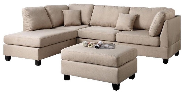Fabric Reversible 3 Piece Sectional Chaise Sofa Set Ottoman In Sectinal Sofas (View 3 of 15)