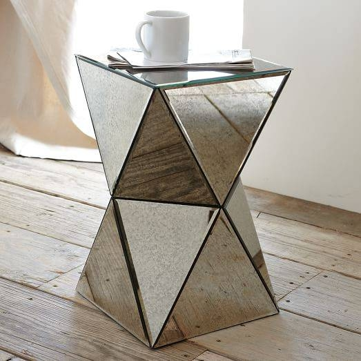 Faceted Mirror Side Table | West Elm Throughout Occasional Tables Mirrors (#18 of 30)