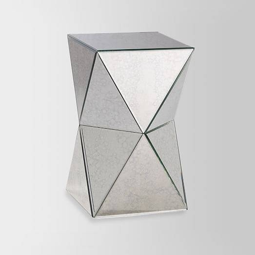 Faceted Mirror Side Table | West Elm With Regard To Occasional Tables Mirrors (#19 of 30)