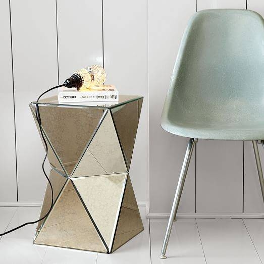 Faceted Mirror Side Table | West Elm Within Occasional Tables Mirrors (#20 of 30)