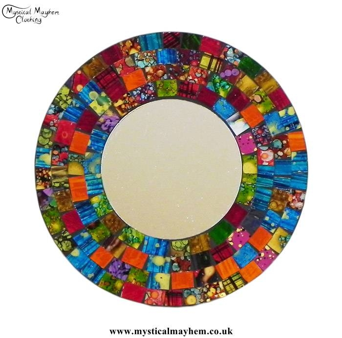 Fair Trade Multicoloured Coloured Round Handmade Mosaic Mirror Throughout Round Mosaic Mirrors (#16 of 30)