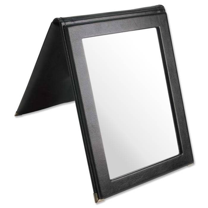 Faux Leather Folding Mirror (Black) Intended For Black Faux Leather Mirrors (#7 of 20)