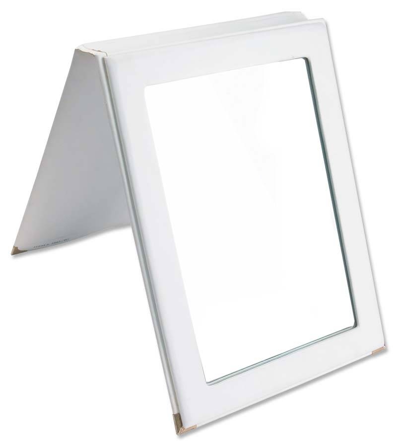 Faux Leather Folding Mirror – White | Portable Jewelry Displays With Black Faux Leather Mirrors (#8 of 20)