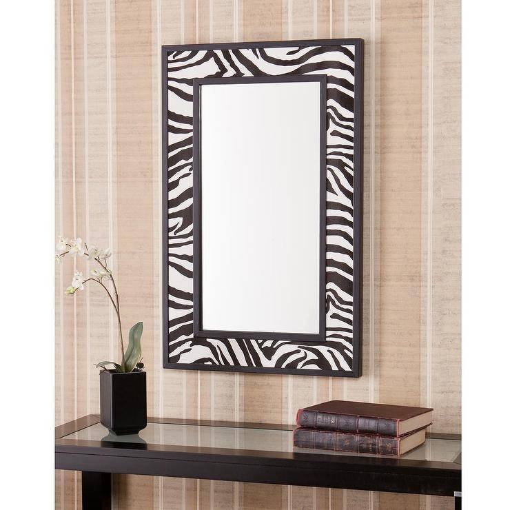 Faux Leather Zebra Animal Print Border Decorative Wall Mirror For Black Faux Leather Mirrors (#13 of 20)