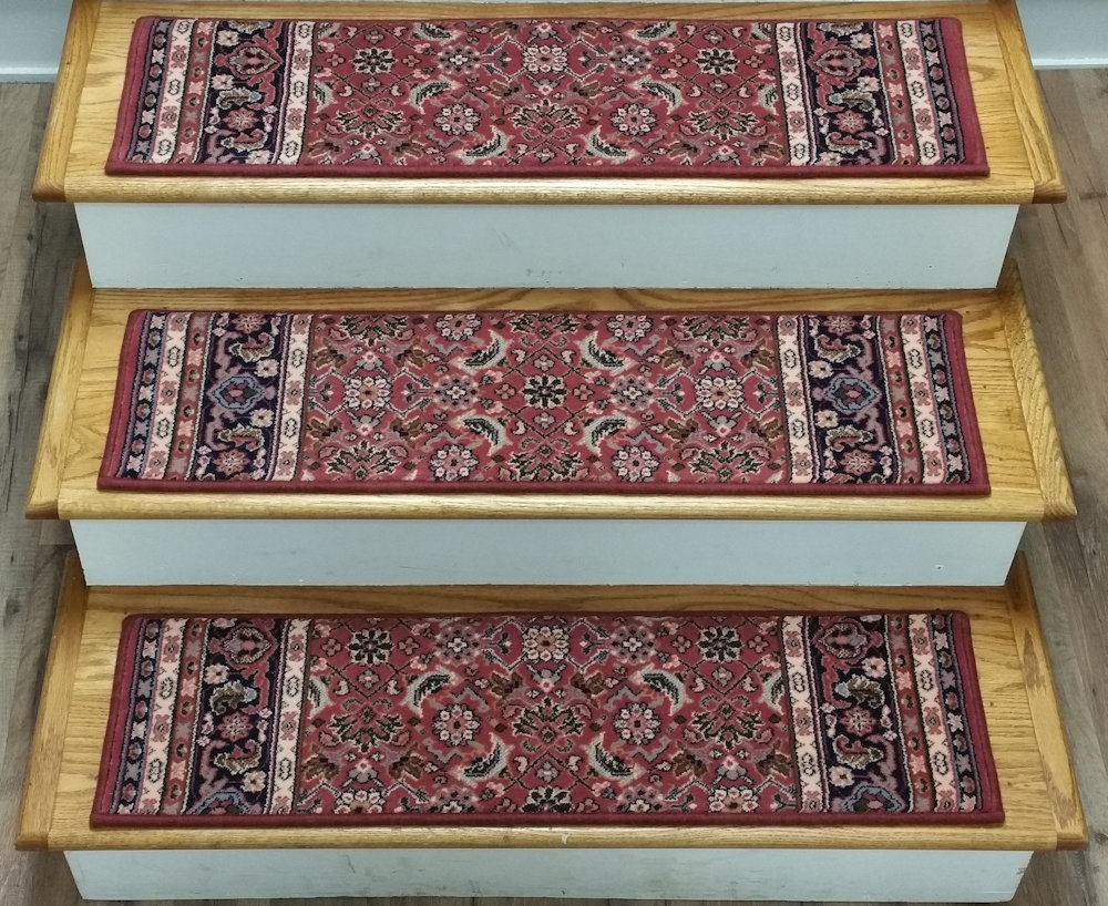 Finished Carpet Stair Treads Tread Sets For Stairs Carpet Treads Within Wool Stair Rug Treads (View 4 of 20)
