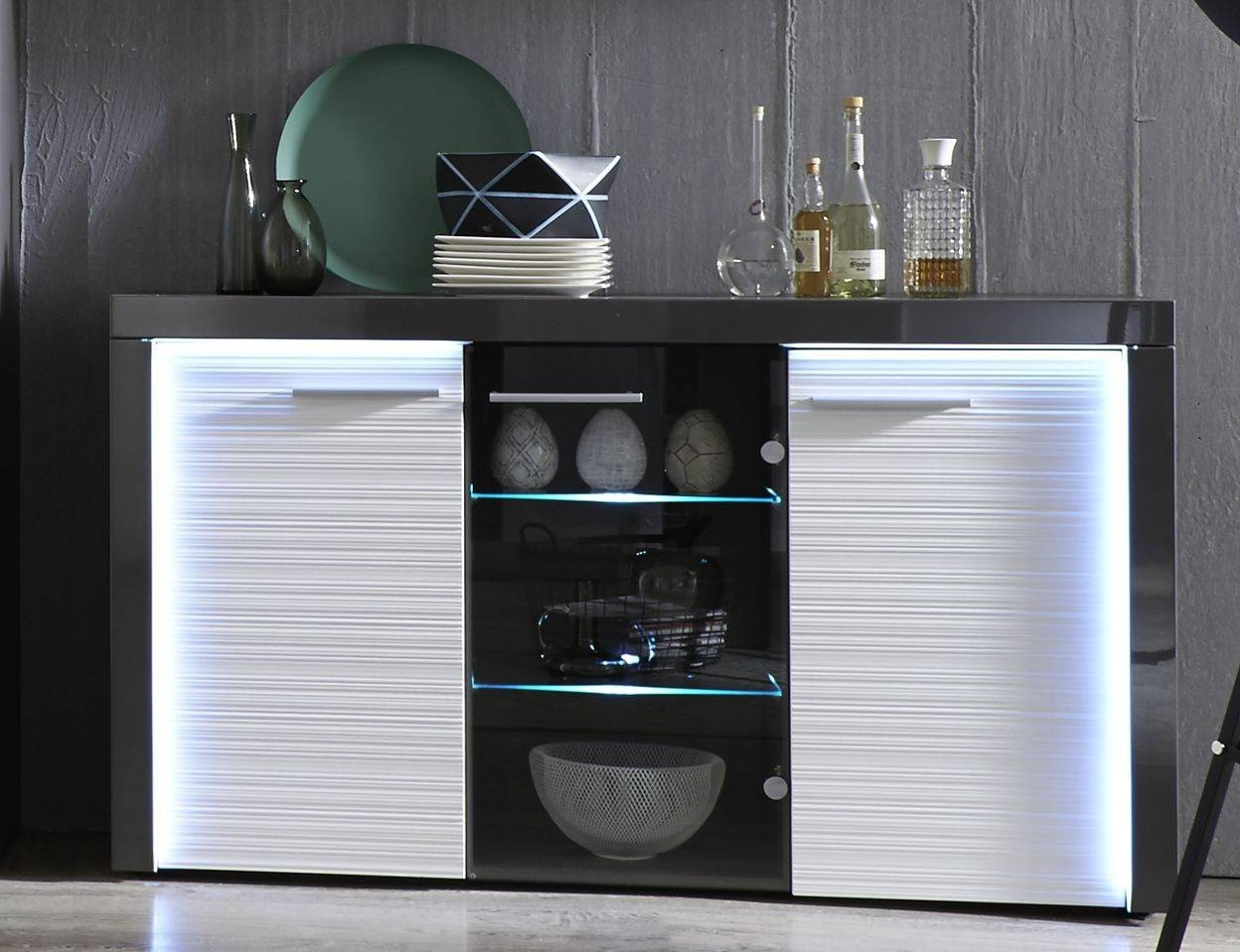 Beautiful Inspiration About Flamingo Grey Gloss Display Cabinet With Led  Lights U Display For Grey Gloss Sideboard With Sideboard Led