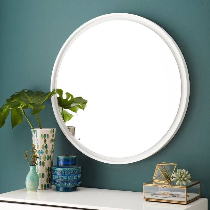 Floating Round Wood Mirror – White | West Elm For Contemporary White Mirrors (View 10 of 15)