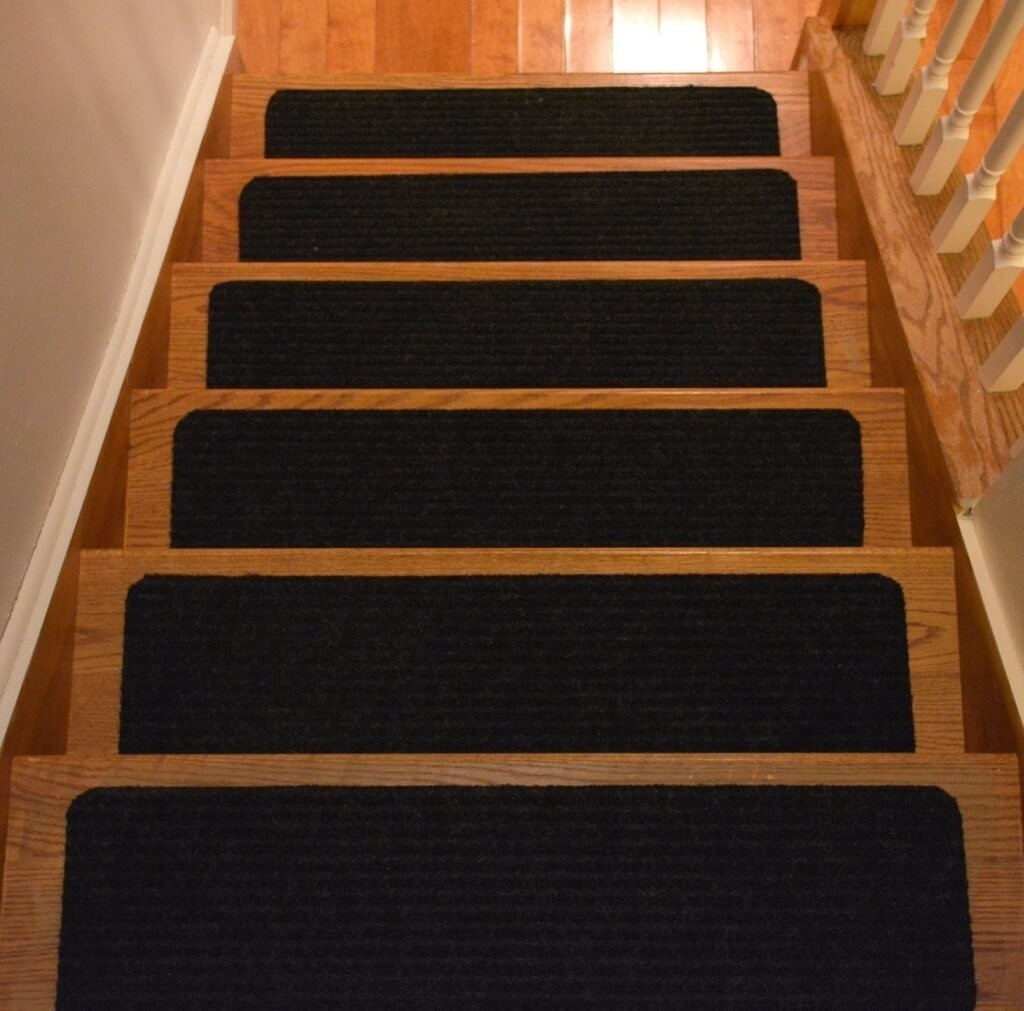 Flooring Black Indoor Non Slip Stair Treads Carpet For Wood Steps Within Nonslip Stair Tread Rugs (#9 of 20)