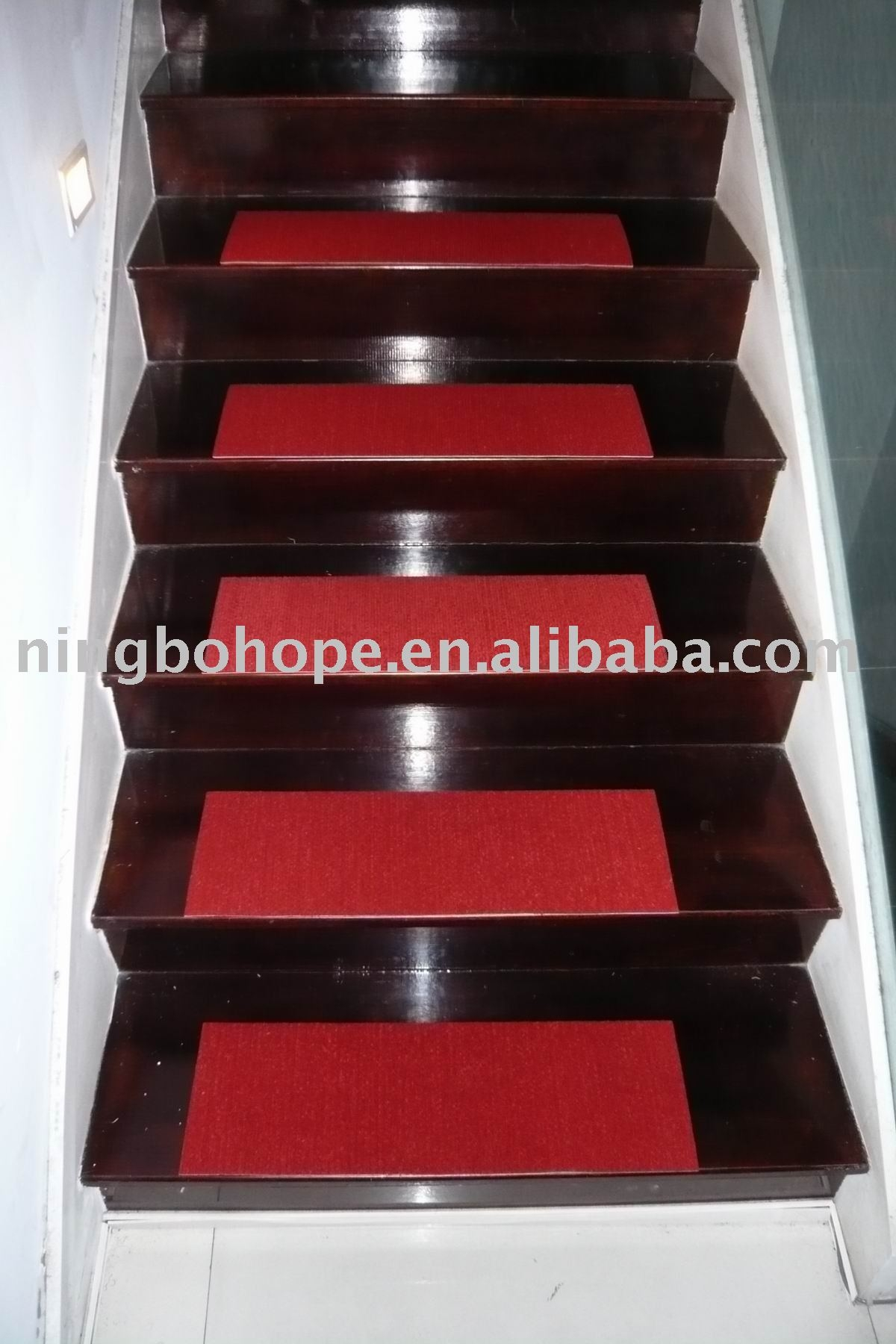 Flooring Brown Wooden Stepping Stair With Red Non Slip Stair Inside Brown Stair Treads (#8 of 20)