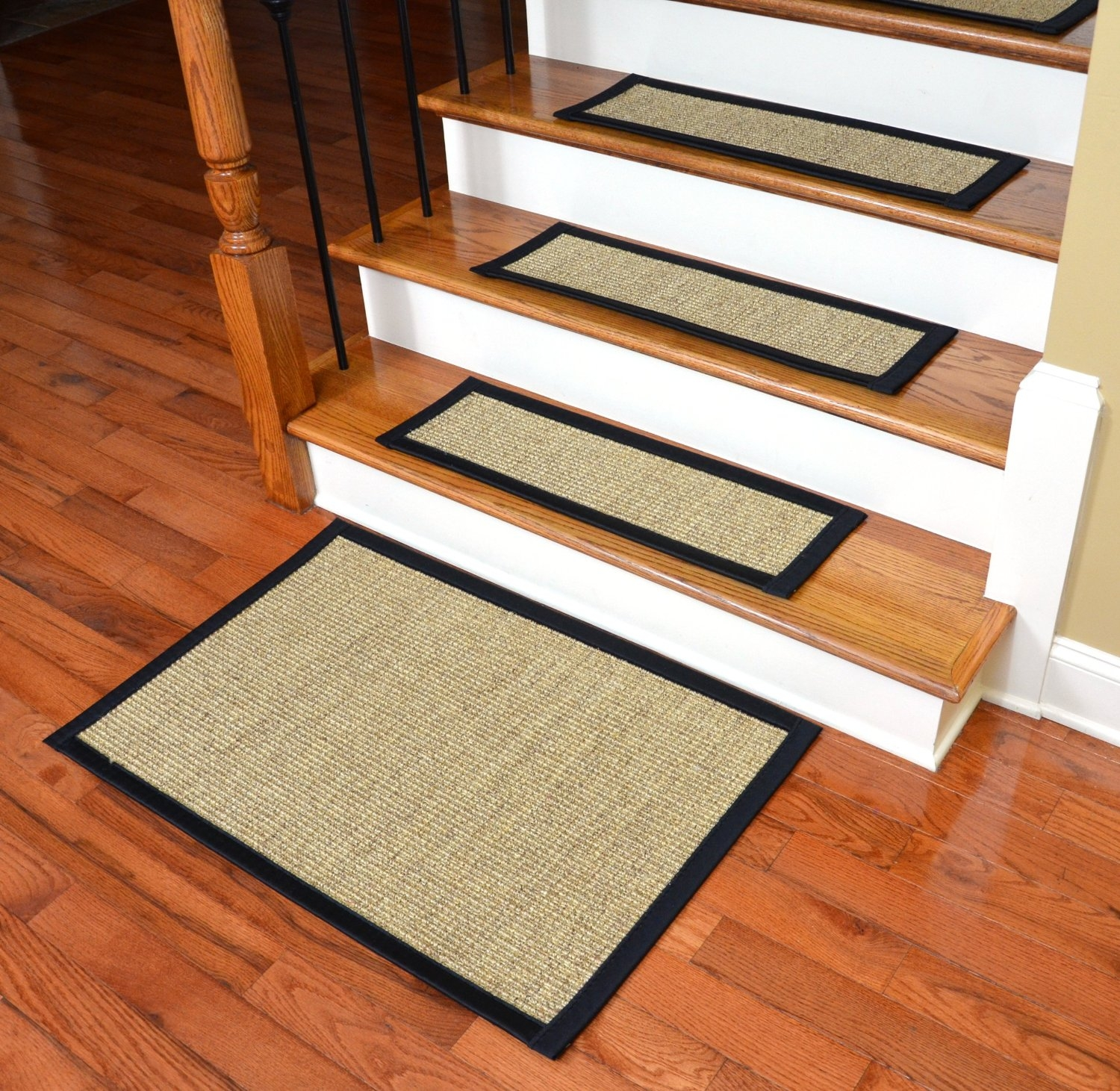 Flooring Non Slip Stair Treads Using Rug In Black And Beige On Intended For Sisal Stair Tread Rugs (#5 of 20)