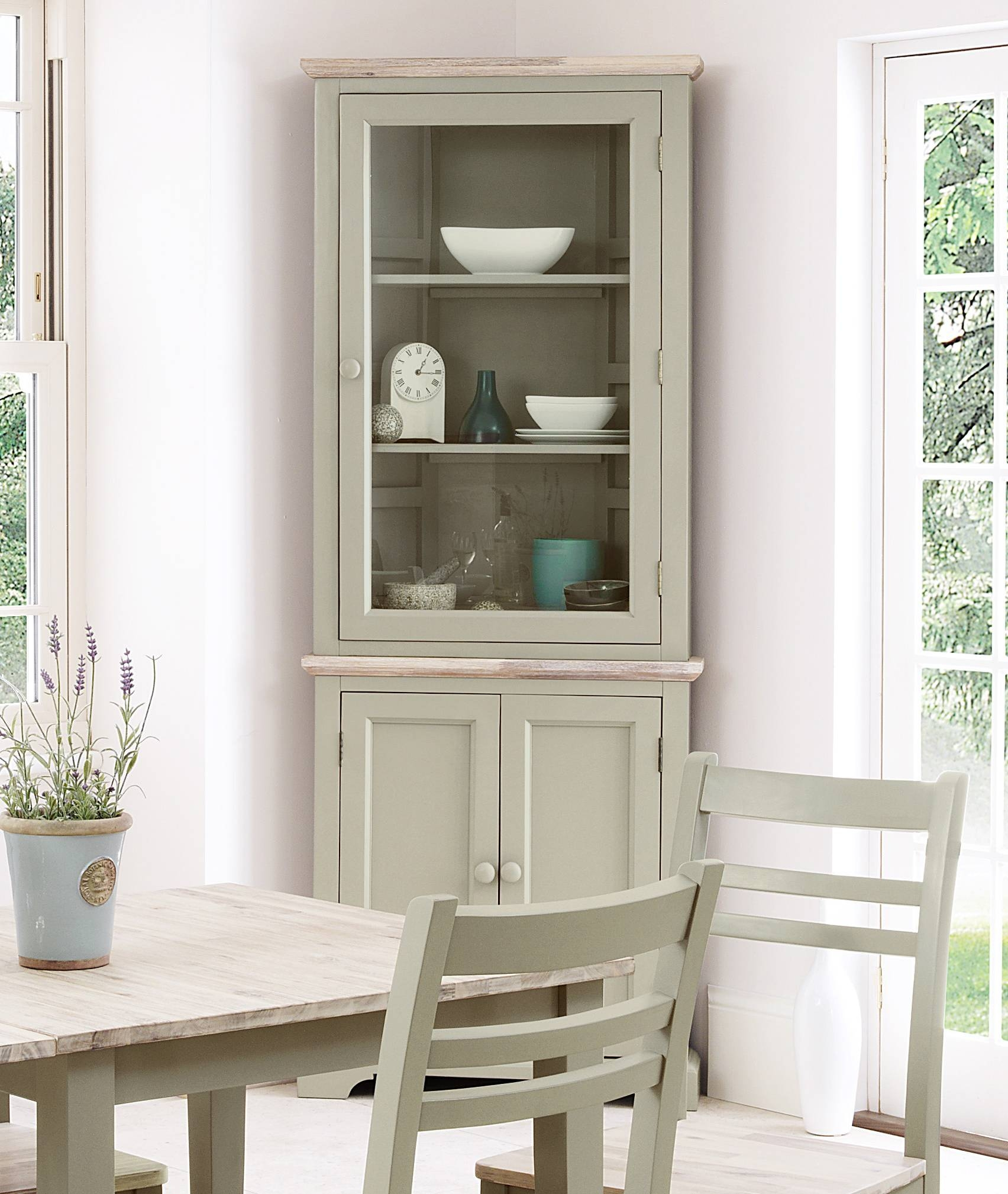 Florence Sage Green Corner Cupboard Unit, Quality Kitchen In Corner Sideboard Unit (View 4 of 20)