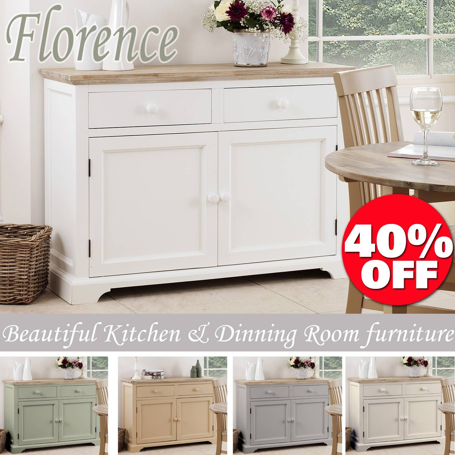 Florence Sideboard, Kitchen Cupboard With 2 Drawers And 2 Doors Inside Fully Assembled Sideboards (#9 of 20)
