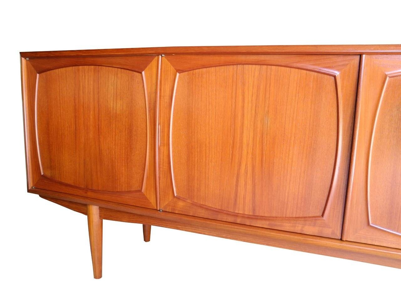 Four Door Danish Modern Teak Sideboard Or Credenzajohannes Within Ready Made Sideboards (#13 of 20)