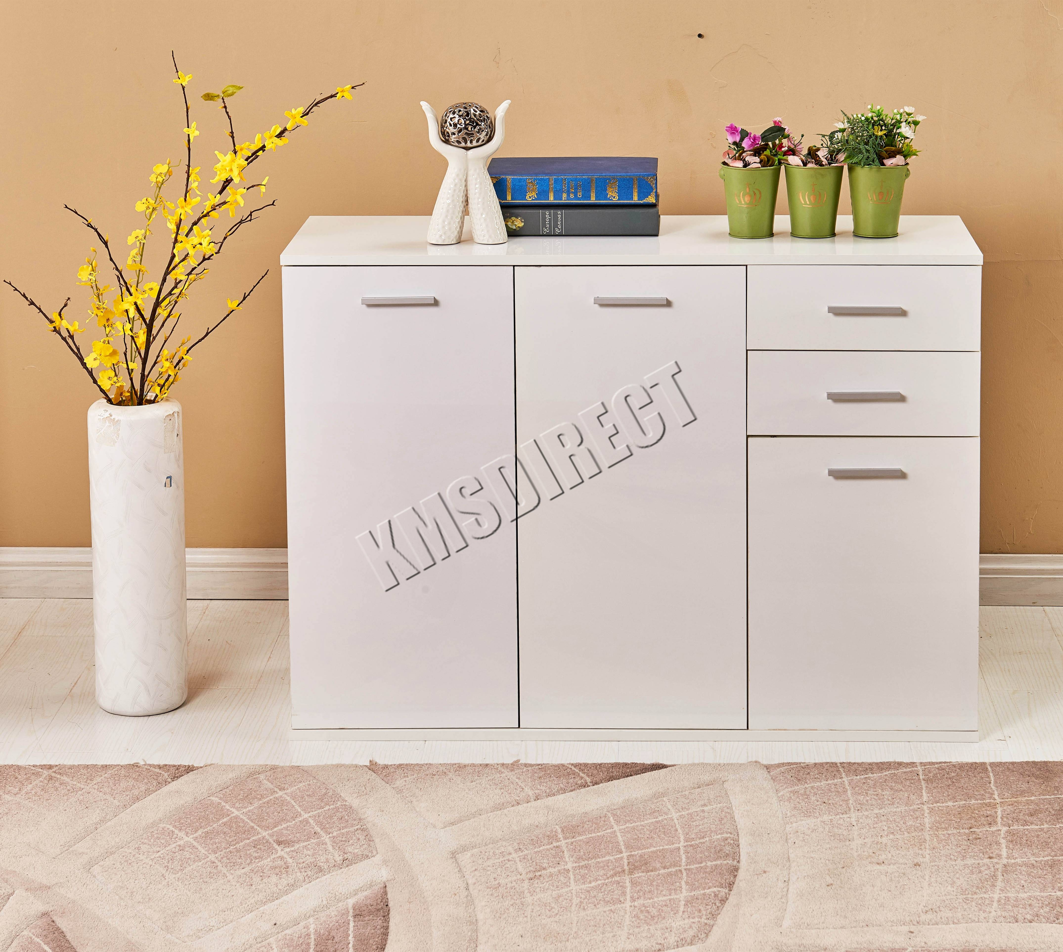 Foxhunter White High Gloss Cabinet Unit Sideboard 2 Drawers 2/3 Regarding White High Gloss Sideboard (View 9 of 20)
