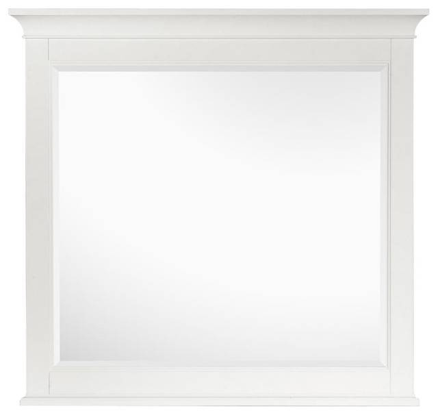 Framed Landscape Mirror In White, Kentwood Collection For Landscape Wall Mirrors (#9 of 30)