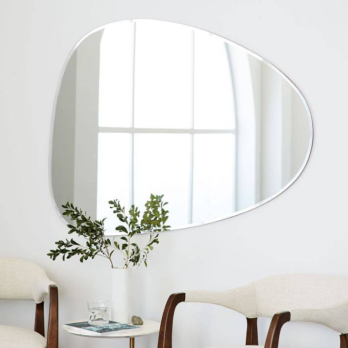 Frameless Asymmetrical Wall Mirror | West Elm With Unframed Wall Mirrors (#11 of 30)