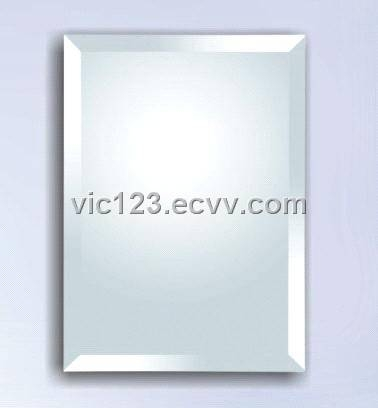 Frameless Bathroom Mirror With Hardware And Beveled Edges At With Regard To Bevelled Bathroom Mirrors (#14 of 20)