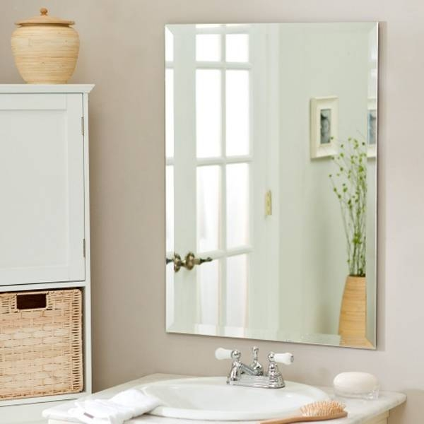 Frameless Mirror,large Wall Mirror,frameless Rectangular Bathroom With Regard To No Frame Wall Mirrors (View 2 of 20)