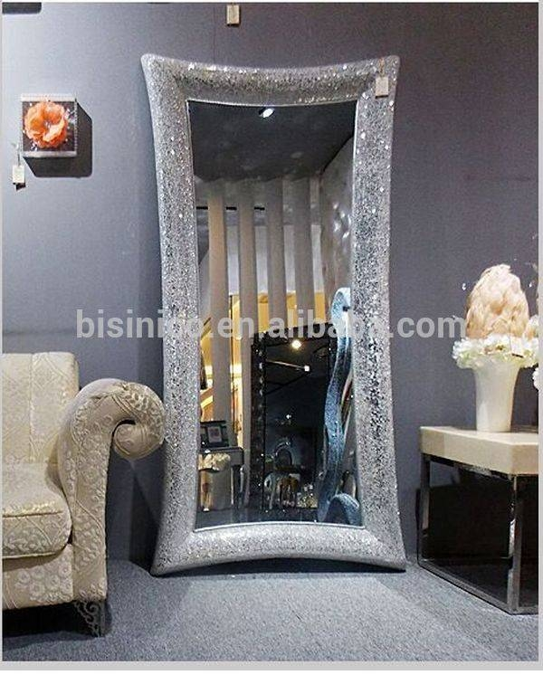 Free Stand Floor Full Length Mosaic Frame Mirror,gold And Black Inside Black Mosaic Mirrors (#13 of 30)