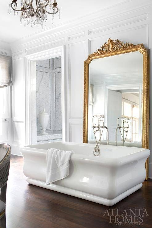 Freestanding Tub In Front Of Gold Leaf Baroque Mirror With Large Baroque Mirrors (#11 of 20)