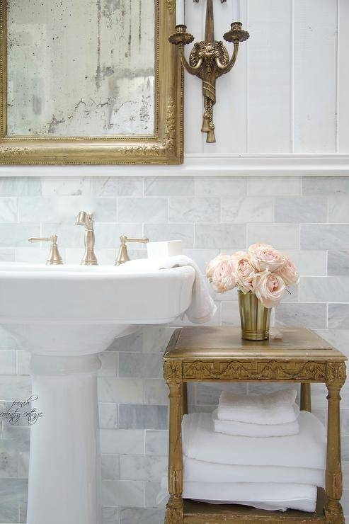 French Bathroom Pedestal Sink Design Ideas Within French Bathroom Mirrors (#20 of 30)