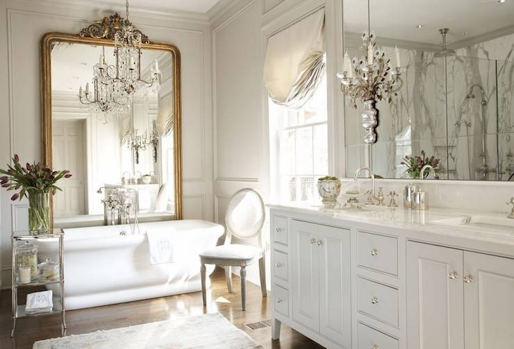 French Bathroom With Mirror And Brass Wall Sconces – French – Bathroom With French Bathroom Mirrors (#22 of 30)
